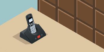 Isometric landline phone in cradle