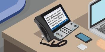 Isometric captioned phone on desk