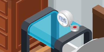 Close up of isometric alarm clock on bedside stand