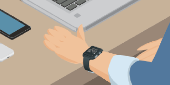 Close up of isometric digital wristwatch on a person's arm