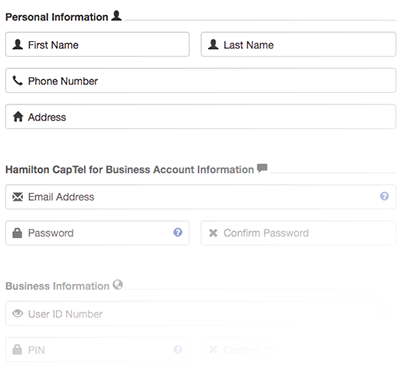 Hamilton CapTel for Business Registration Form