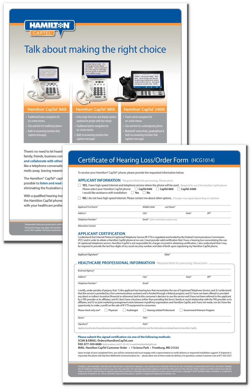 Thumbnail preview of certificate of hearing loss form, front and back