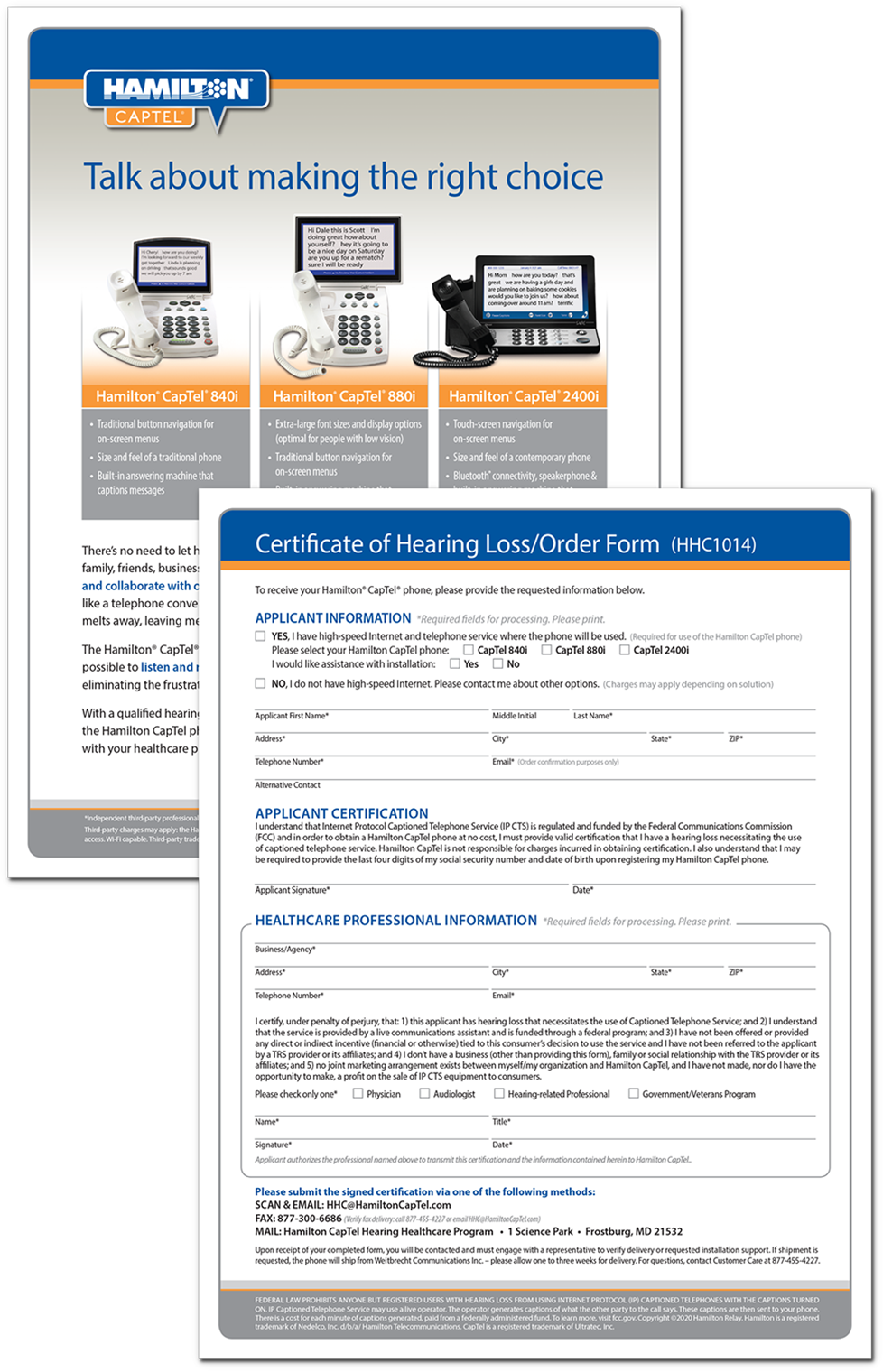 Hamilton CapTel Certificate of Hearing Loss/Order Form